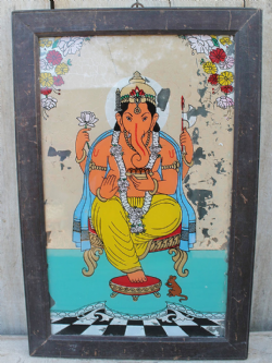 Glass Painting of Hindu God Ganesh